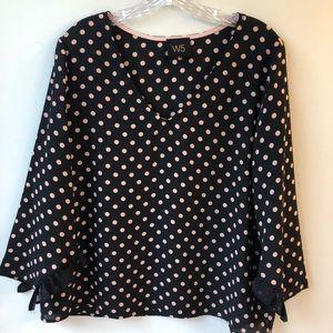 W5 Polka Ruffle sleeve blouse